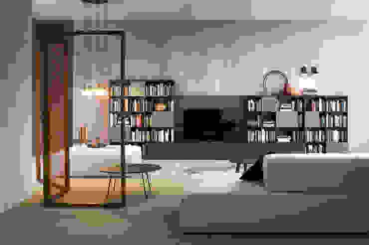 Tv Lowboard mir Bücherregal in Holz dunkler Ulme: modern  von Livarea,Modern Holz Holznachbildung