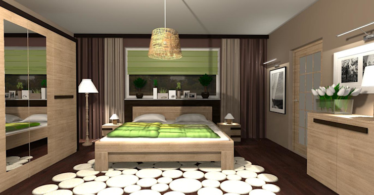 Sypialnia w stylu Eko od WIZJA WNĘTRZA - projekty i aranżacje