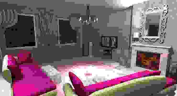 Salon w stylu Glamour od WIZJA WNĘTRZA - projekty i aranżacje