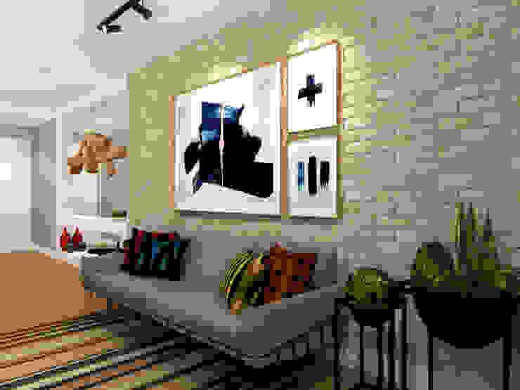 Apartamento Barra da Tijuca – RJ Konverto Interiores + Arquitetura Salas de estar industriais