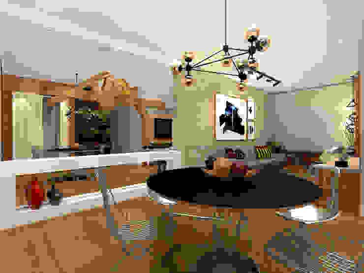 Apartamento Barra da Tijuca – RJ Konverto Interiores + Arquitetura Salas de jantar industriais