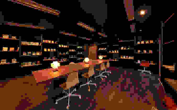 図書室2 モダンデザインの 書斎 の 猪股浩介建築設計 Kosuke InomataARHITECTURE モダン 木 木目調