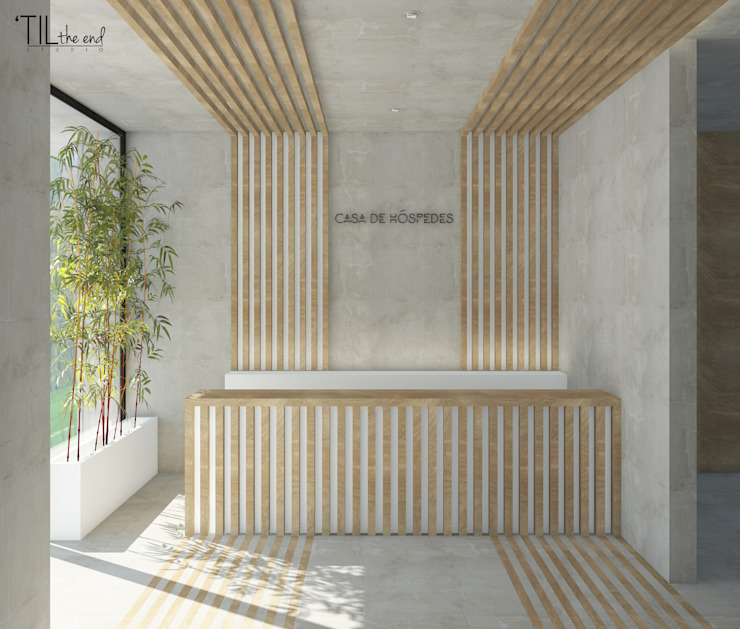 Lobby Hotéis escandinavos por Lagom studio Escandinavo Betão