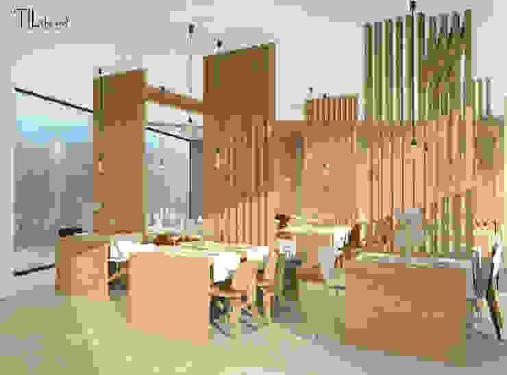 Restaurant Hotéis escandinavos por Lagom studio Escandinavo Madeira Acabamento em madeira