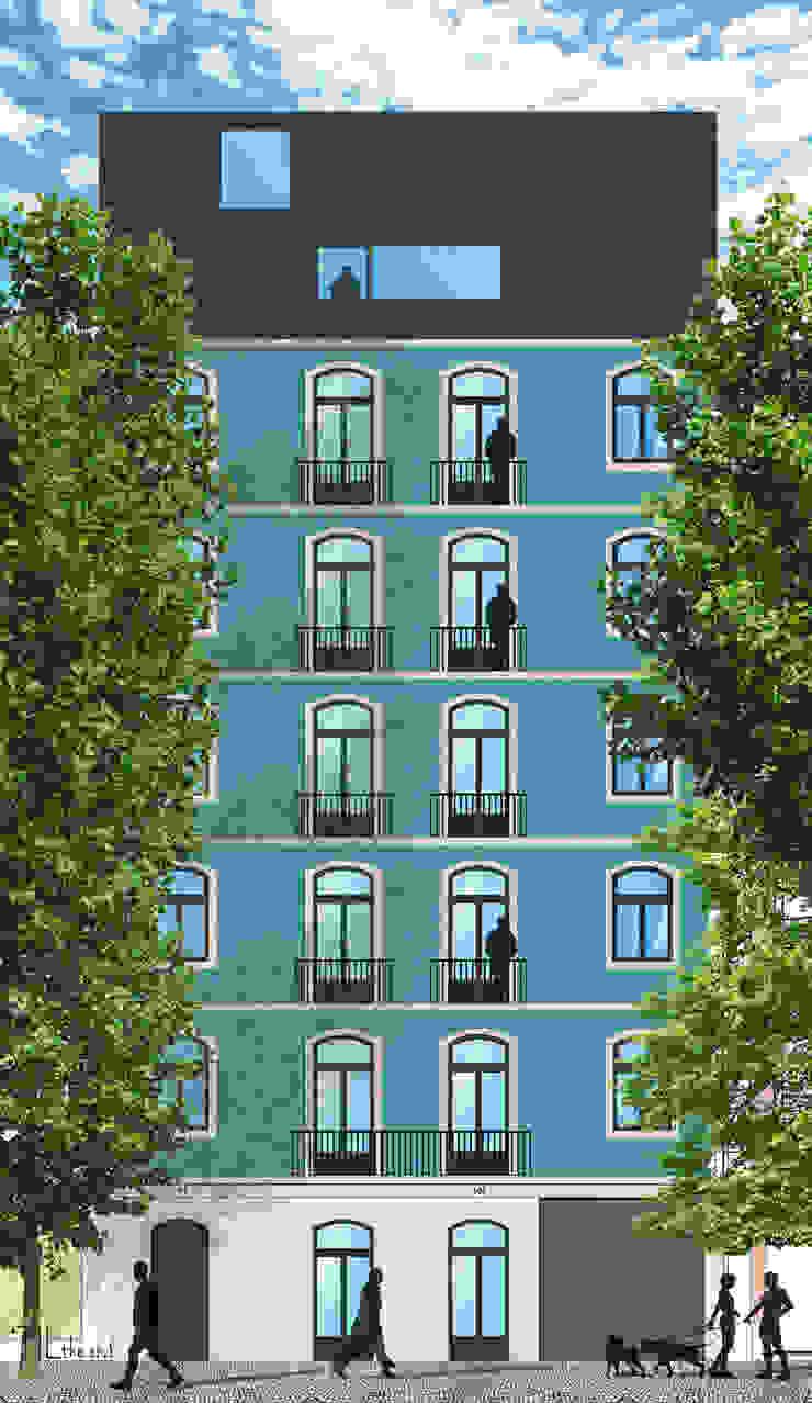 Building façade Casas minimalistas por Lagom studio Minimalista Azulejo
