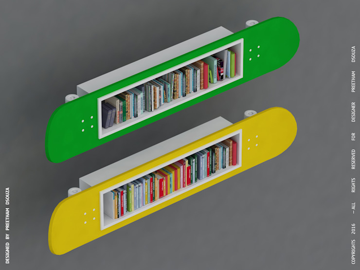 Bookshelves - Skateboards Preetham Interior Designer Living roomShelves Yellow