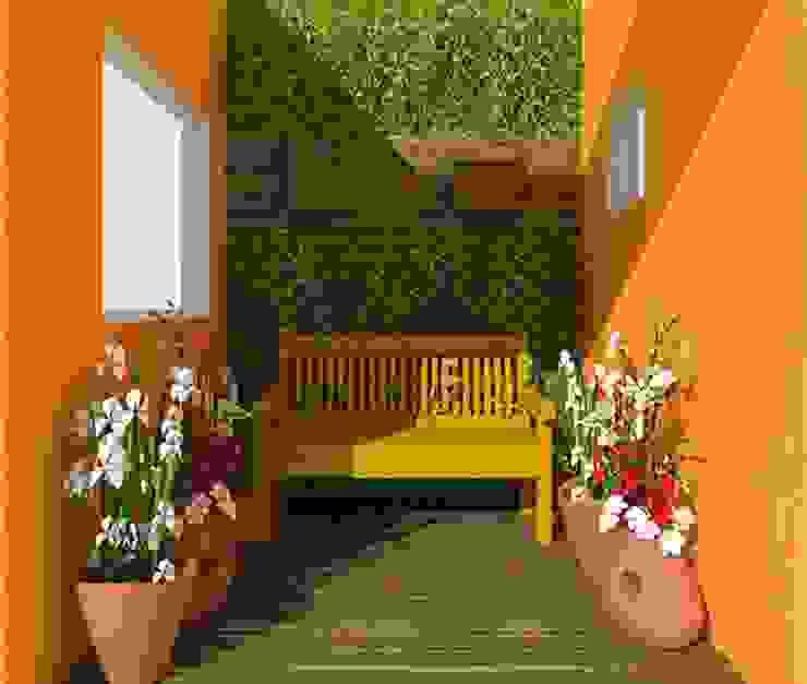 Jardim Interno AH Jardins de inverno campestres por Nádia Catarino - Arquitetura e Design de Interiores Campestre Madeira Efeito de madeira