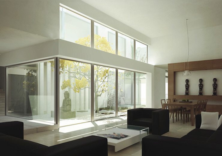 RESIDENCIA CUMBRES Salones minimalistas de TAQ arquitectura Minimalista Vidrio