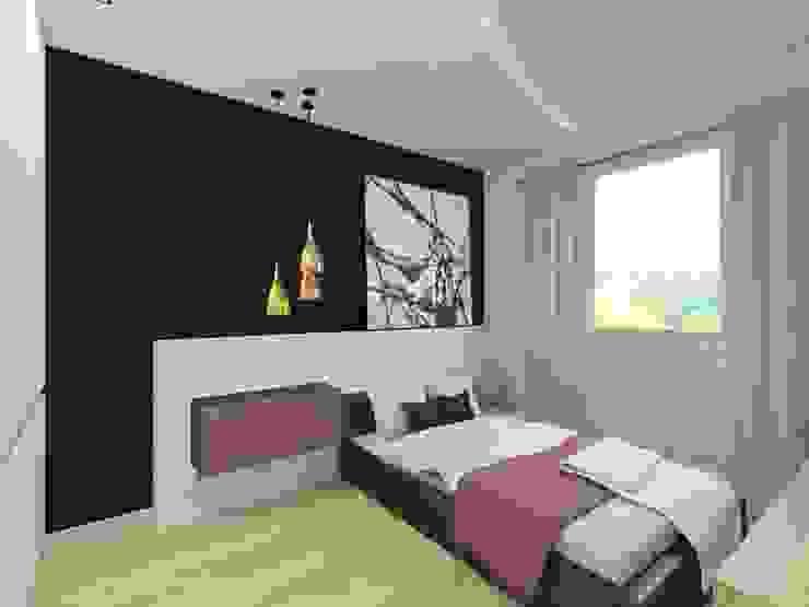 Sypialnia w bieli i fioleci Nowoczesna sypialnia od Bohema Design Nowoczesny