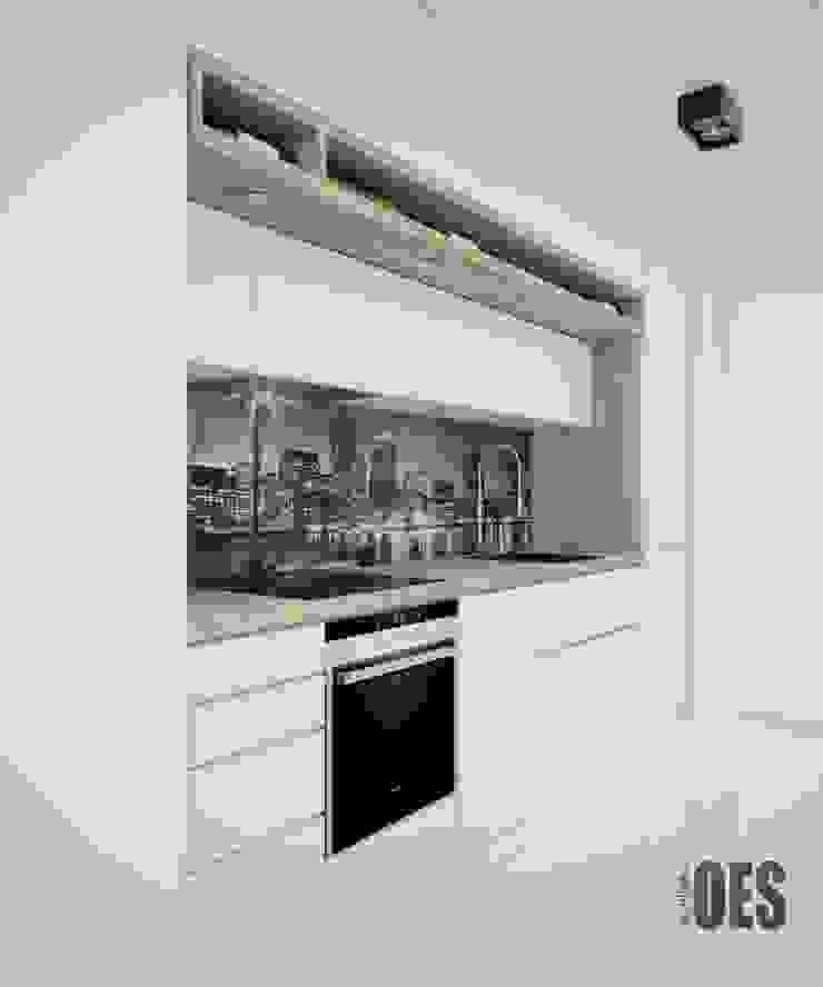 Projekt wnętrz mieszkania w Katowicach Nowoczesna kuchnia od OES architekci Nowoczesny Drewno O efekcie drewna