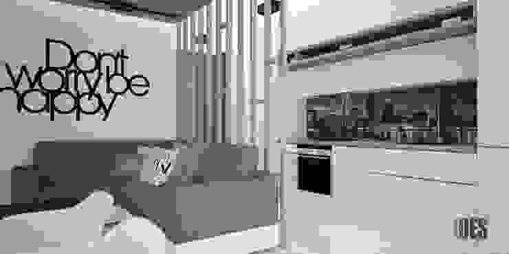Projekt wnętrz mieszkania w Katowicach Nowoczesna kuchnia od OES architekci Nowoczesny Szkło