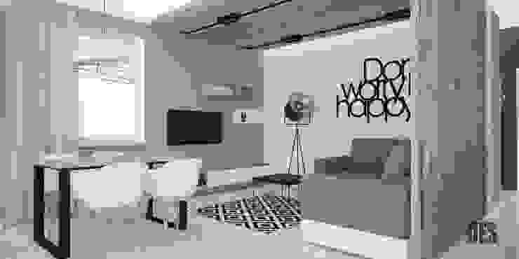 Projekt wnętrz mieszkania w Katowicach Nowoczesny salon od OES architekci Nowoczesny Drewno O efekcie drewna