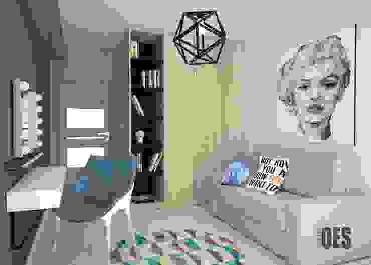Projekt wnętrz mieszkania w Katowicach Nowoczesna sypialnia od OES architekci Nowoczesny Drewno O efekcie drewna