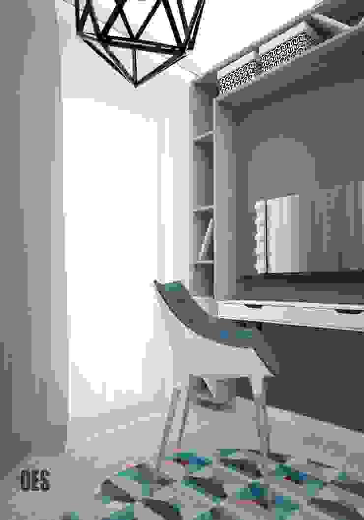 Projekt wnętrz mieszkania w Katowicach Nowoczesna sypialnia od OES architekci Nowoczesny Lite drewno Wielokolorowy