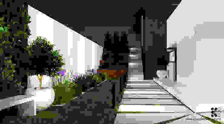Dom w podwarszawskich Jankach Nowoczesny ogród od Klaudia Tworo Projektowanie Wnętrz Sp. z o.o. Nowoczesny