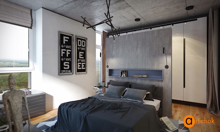 Industrial style bedroom by Artichok Design Industrial