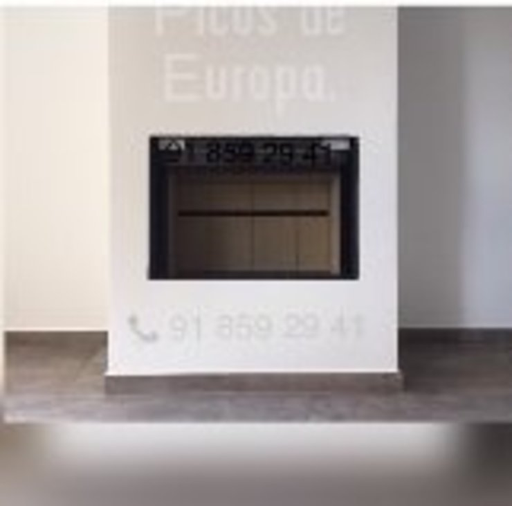 chimeneas de leña puerta de guillotina Chimeneas Picos de Europa Salones de estilo moderno