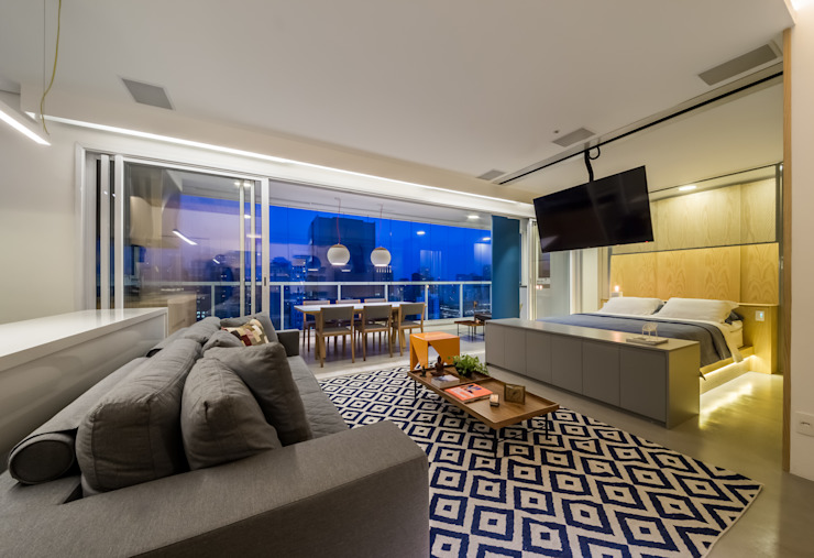 Гостиная в . Автор – Casa100 Arquitetura, Модерн