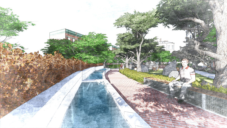Ornamental Pool Sketch Modern Bahçe Kerem Toprakkaya Modern