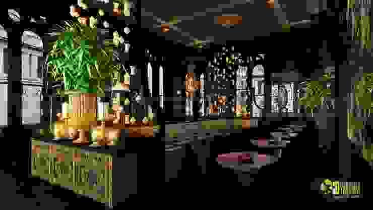 Night view 3D Interior Cgi Restaurant: modern  by Yantram Architectural Design Studio, Modern
