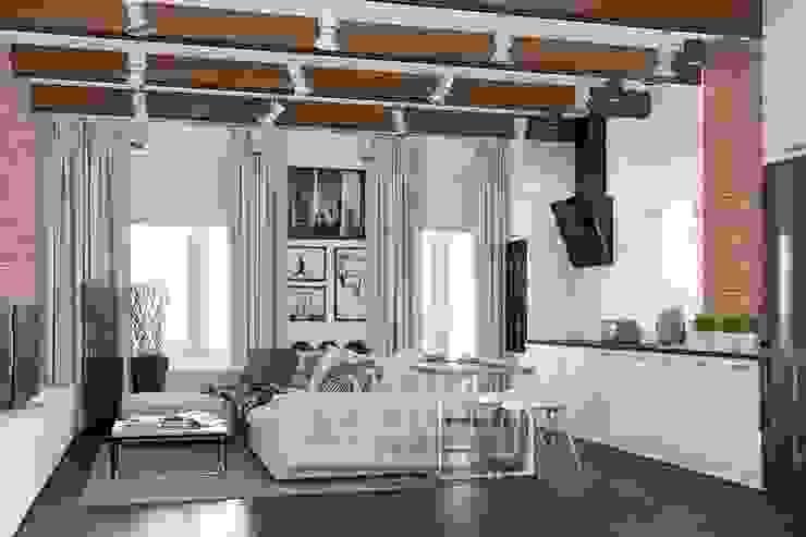 Особенности дизайна гостиной в стиле лофт: фото интерьера: Гостиная в . Автор – Olga's Studio,