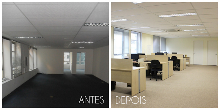 É! Arquitetura e Design Minimalist office buildings MDF Brown