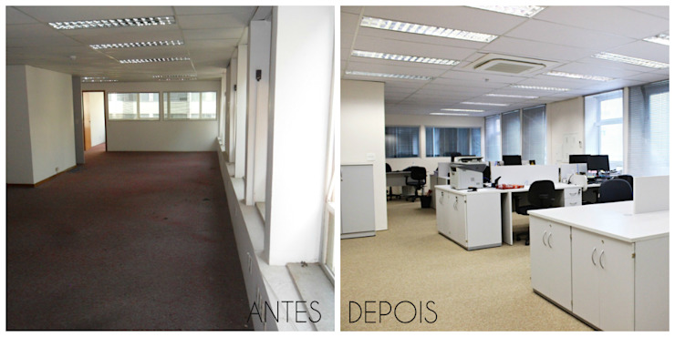 É! Arquitetura e Design Minimalist office buildings MDF Beige