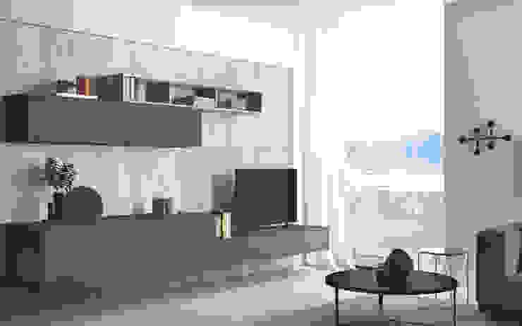 Ambiente Living (B) – panoramica Soggiorno in stile scandinavo di Nova Cucina Scandinavo