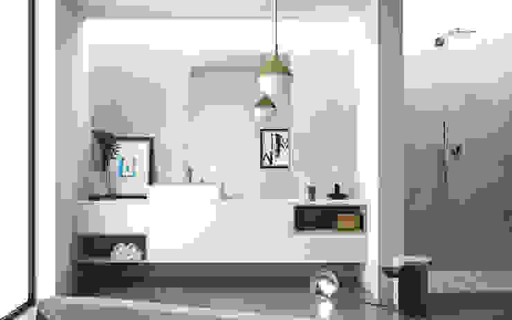 Ambiente Bagno (C) – panoramica Nova Cucina Bagno in stile scandinavo Bianco