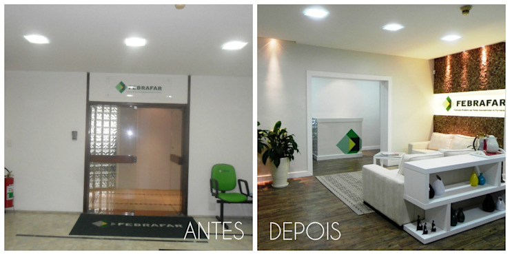 Espaces de bureaux minimalistes par É! Arquitetura e Design Minimaliste Caoutchouc