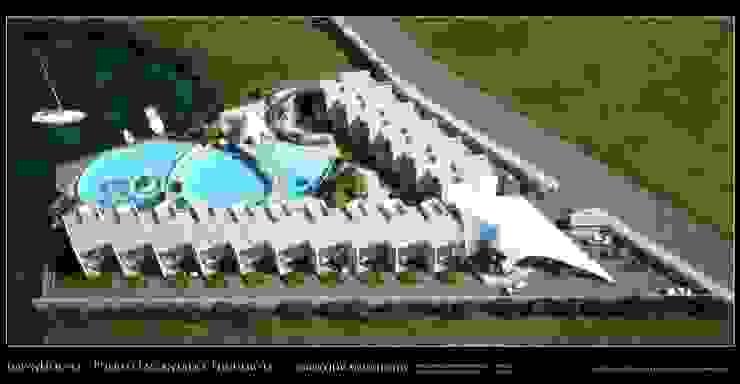 Imagenes 3D (Render) vista aérea del conjunto de 16 viviendas unifamiliares.. Grupo JOV Arquitectos Casas de estilo minimalista Pizarra Blanco