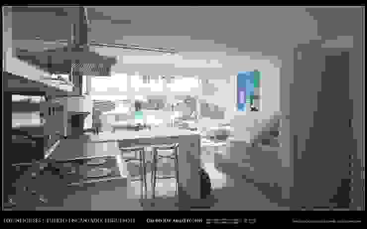 Imagenes 3D (Render) Vista interna de la planta baja, Cocina, area social vista hacia la piscina y exteriores Grupo JOV Arquitectos Pasillos, vestíbulos y escaleras de estilo minimalista Mármol Blanco