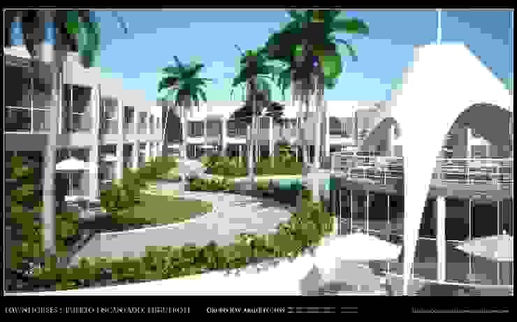 Imagenes 3D (Render) Vista externa de las areas recreacionales y exteriores Grupo JOV Arquitectos Jardines de estilo minimalista Piedra Gris