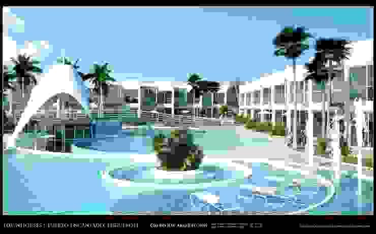 Imagenes 3D (Render) Vista externa de las areas recreacionales en torno a la piscina Grupo JOV Arquitectos Piscinas de estilo minimalista Cerámico Azul