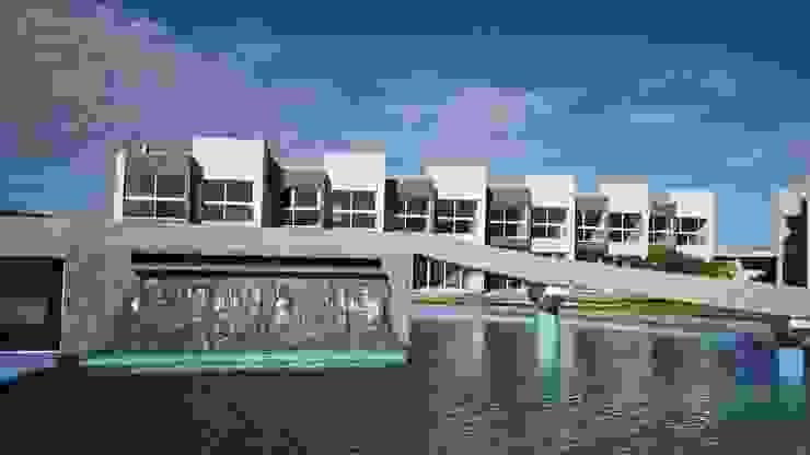 Vista Real desde la piscina del conjunto Costa Blanca Grupo JOV Arquitectos Piscinas de estilo minimalista Piedra Azul