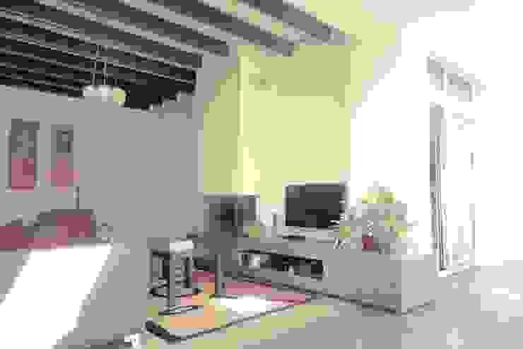 de nieuwe open haard in de zitkamer van ddp-architectuur