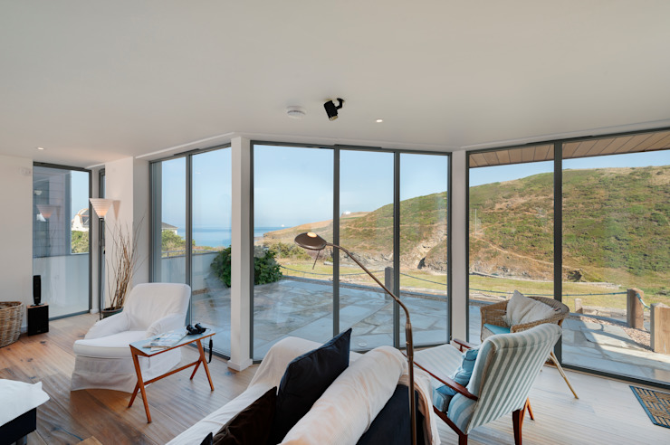 Rockside, Polzeath, Cornwall Modern living room by Trewin Design Architects Modern