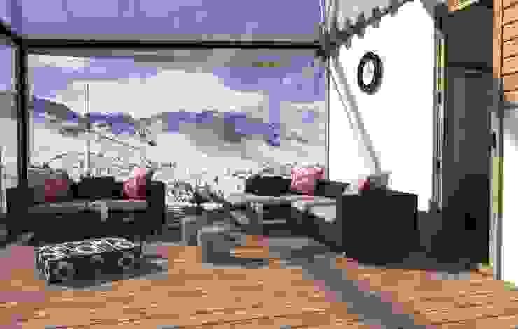 Render de Terraza o zona de estar. BOOMHUT INTERIORISMO Balcones y terrazas de estilo escandinavo