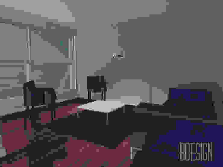 Maqueta digital living integrativo Salones minimalistas de Estudio BDesign Minimalista Concreto reforzado