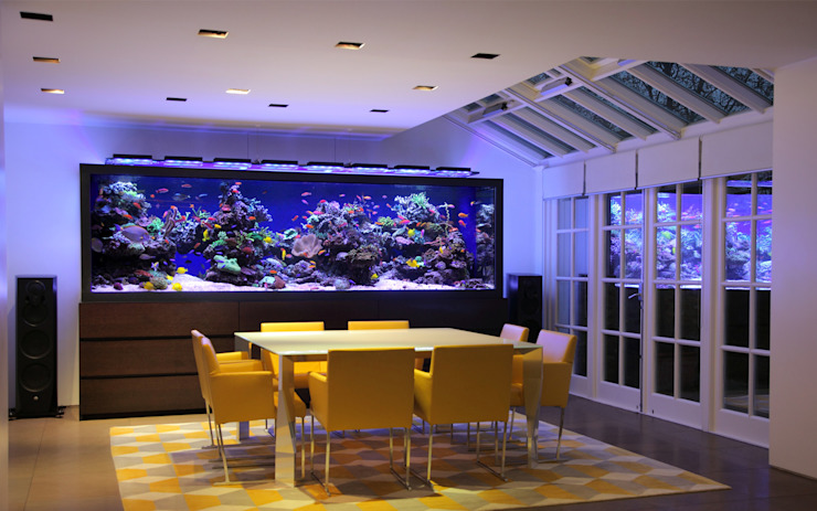 Luxury Townhouse Aquarium Salas de jantar modernas por Aquarium Architecture Moderno