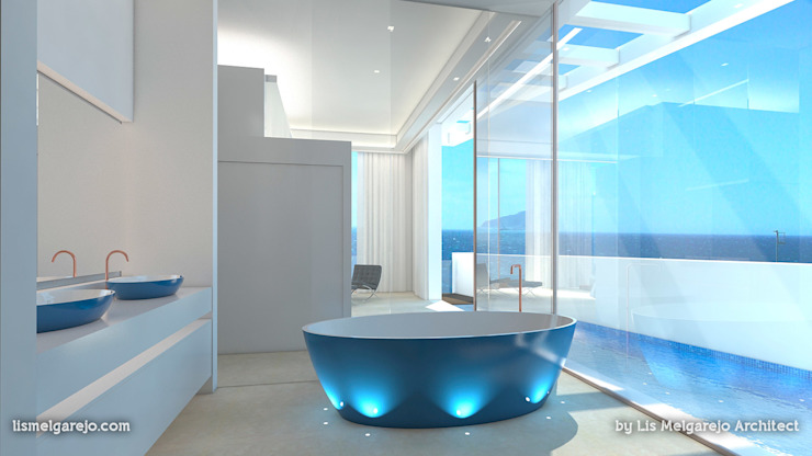 Residencia Luxury Baños de estilo mediterráneo de Lis Melgarejo Arquitectura Mediterráneo