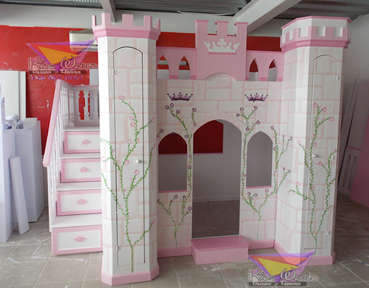 Bellísimo castillo litera de camas y literas infantiles kids world Clásico Derivados de madera Transparente