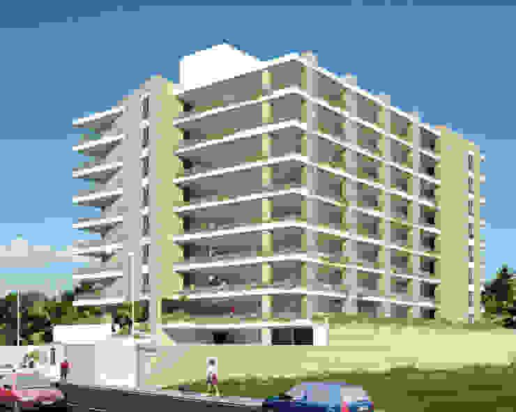 FACHADA PRINCIPAL REDIDENCIA ABISAI SUITES Grupo JOV Arquitectos Casas modernas Piedra Marrón