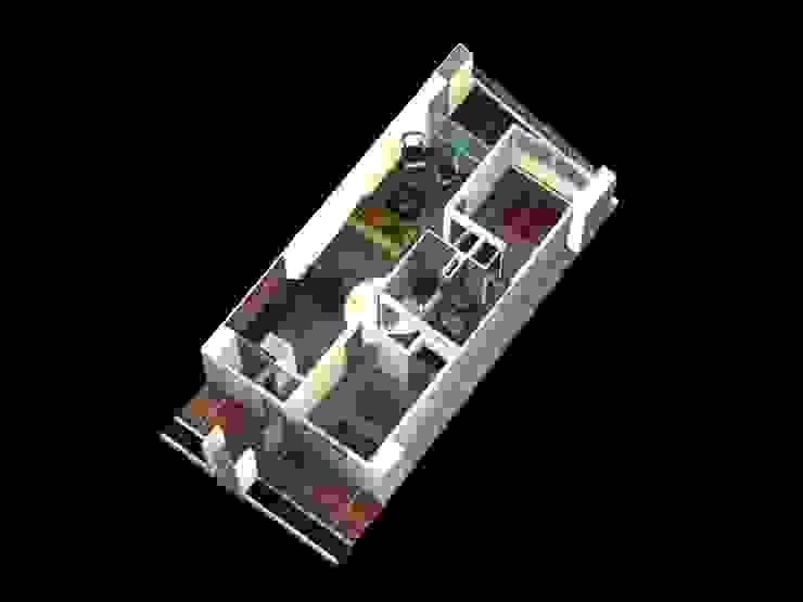 MODELO DE APARTAMENTO TIPO D REDIDENCIAS ABISAI SUITES Grupo JOV Arquitectos Salas de estilo moderno Cerámico Beige