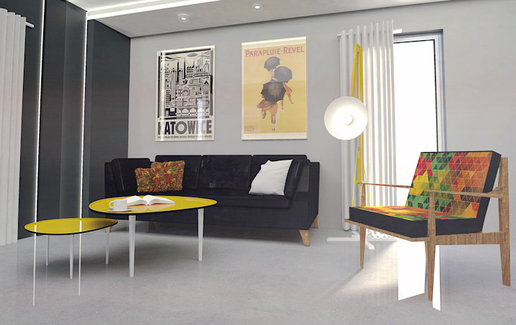 Retro mustard! Eklektyczny salon od Arch/tecture Eklektyczny