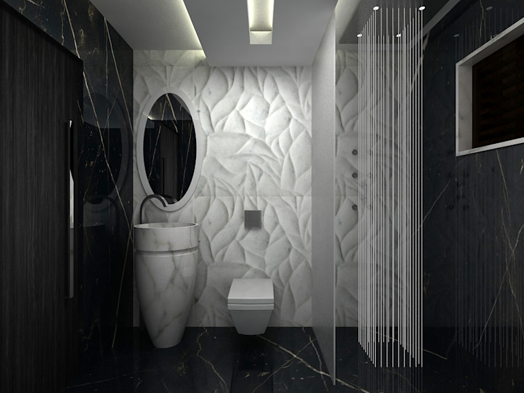RESIDENTIAL INTERIOR, MYSORE. (www.depanache.in) Modern bathroom by De Panache - Interior Architects Modern Stone