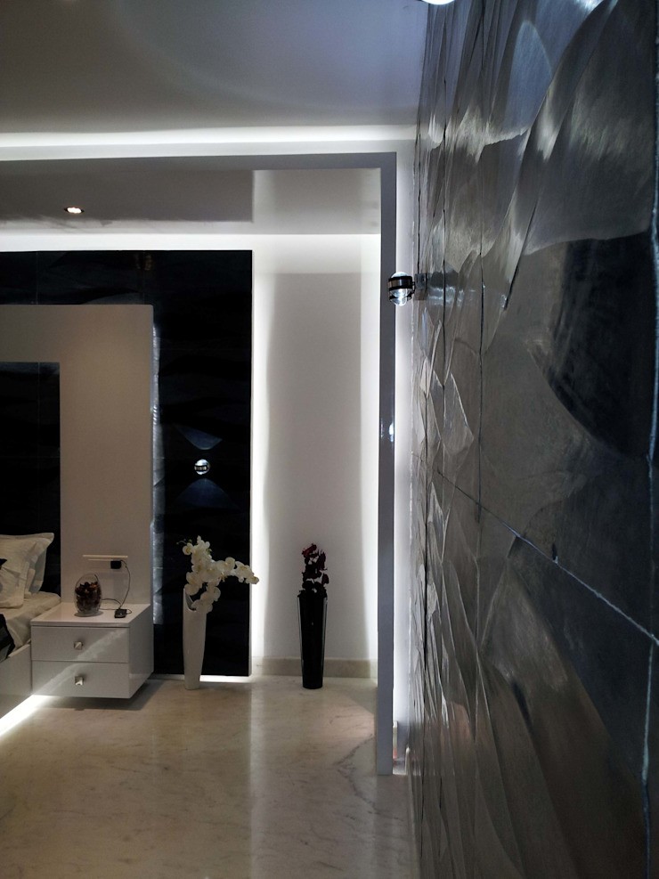 RESIDENTIAL INTERIOR, MYSORE. (www.depanache.in) Modern style bedroom by De Panache - Interior Architects Modern Stone