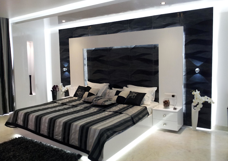 RESIDENTIAL INTERIOR, MYSORE. (www.depanache.in) Modern style bedroom by De Panache - Interior Architects Modern Stone