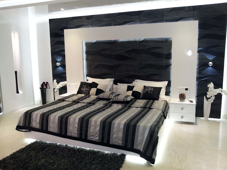 RESIDENTIAL INTERIOR, MYSORE. (www.depanache.in) Modern style bedroom by De Panache - Interior Architects Modern