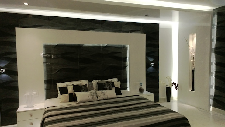 RESIDENTIAL INTERIOR, MYSORE. (www.depanache.in) Modern style bedroom by De Panache - Interior Architects Modern Plywood